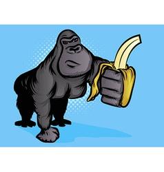gorilla banana vector image vector image