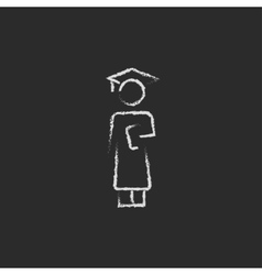 Graduation icon drawn in chalk vector image
