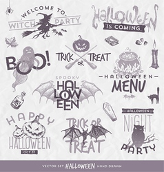 Halloween type design set with hand drawn elements vector image vector image