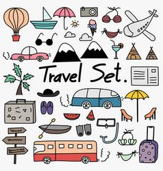 hand drawn doodle travel set vector image