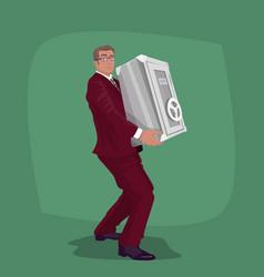 Happy businessman carry steel safe deposit vector