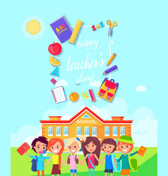happy teachers day colorful vector image