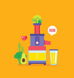 juicer and fresh fruits greens vegetables colorful vector image