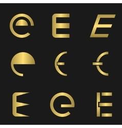 Letter E set vector image vector image