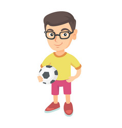 little caucasian boy holding a football ball vector image