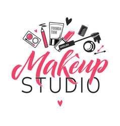 makeup studio logo of vector image