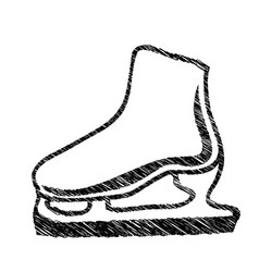 Monochrome hand drawn sketch of ice skate vector