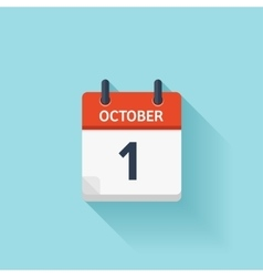 October 1 flat daily calendar icon date vector