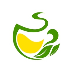 Organic green and yellow icon with leaves vector image