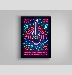 rock n roll live music typography poster in neon vector image
