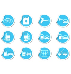 Set of 12 stickers with transport icon vector