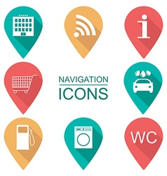 Set of navigation icons flat design scope of vector