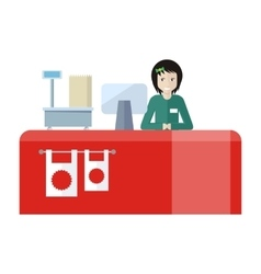 Shop assistant sitting at the cash desk vector