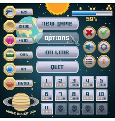 Space game interface design vector
