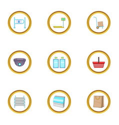 store icons set cartoon style vector image vector image