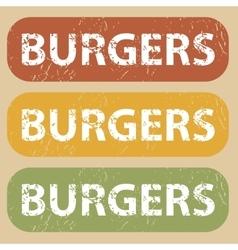 Vintage burgers stamp set vector