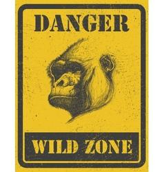 Warning sign danger signal with gorilla eps 8 vector