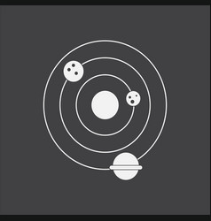 White icon on black background planets and the vector