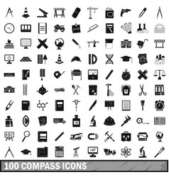 100 compass icons set simple style vector