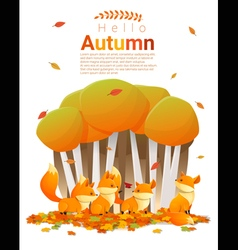 Hello autumn background with foxes 2 vector