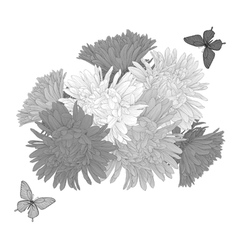 Bouquet flowers and butterflies hand-drawn vector