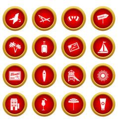 Miami icon red circle set vector