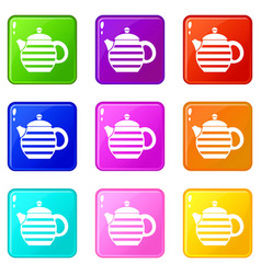 Striped teapot icons 9 set vector