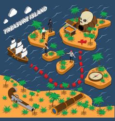 treasure island isometric composition vector image