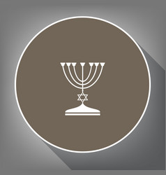 Jewish menorah candlestick in black silhouette vector