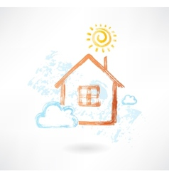 House in the sun and cloud grunge icon vector image