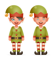 3d realistic cartoon elf boy and girl characters vector image vector image