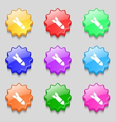 Missilerocket weapon icon sign symbol on nine wavy vector