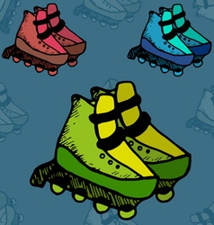 Roller skates fitness footwear free fun vector