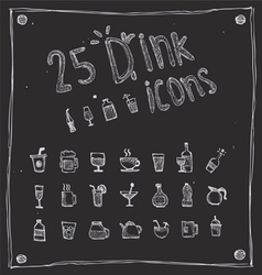 Draw drink icons set vector