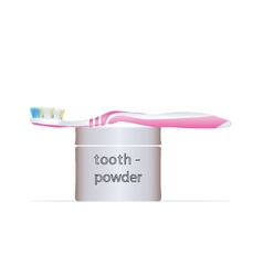 Toothbrush and tooth powder vector