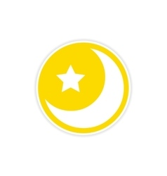 Sticker logo moon and star on a white background vector
