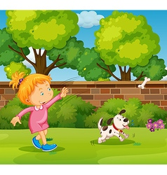 Girl playing with pet dog in the yard vector