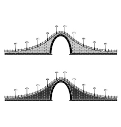 An ancient stone arch bridge vector
