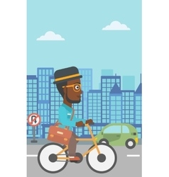 Man cycling to work vector image