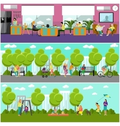 Family home and park concept banner People vector image