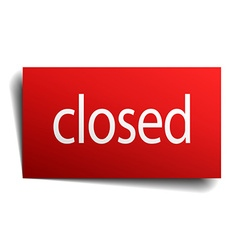 Closed red paper sign isolated on white vector