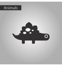 Black and white style icon dinosaur vector