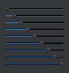 Black equalizer with blue slider buttons vector