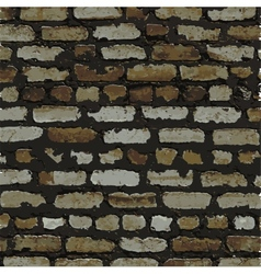 Brick wall brown relief texture with shadow vector image