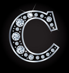 c letter made with diamonds isolated on vector image