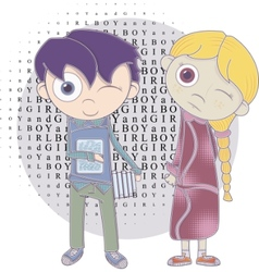 cartoon boy and girl vector image vector image