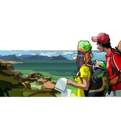 cartoon couple tourists with map stand vector image