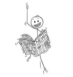 Cartoon of happy businessman reading good news in vector