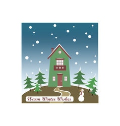 Christmas card winter is here vector