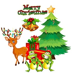 Christmas theme with reindeer and frogs vector image vector image